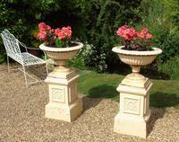 Good Pair of Victorian Campana Garden Urns on Stands (2 of 7)