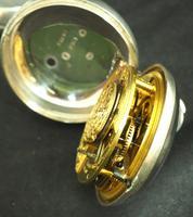 Antique Silver Pair Case Pocket Watch Fusee Verge Escapement Key Wind Enamel Dial (7 of 10)