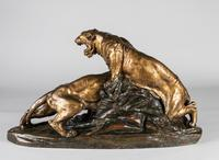 Stunning 19th Century French Bronze Sculpture of Two Tigers by E.Drouot (8 of 11)