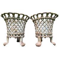 Pair of Fine Antique Edwardian Garden Cast Iron Lattice Urn Planters on 3 Lion Feet