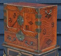 Excellent 19th Century Japanese Oriental Elm Jewellery Box / Table Cabinet