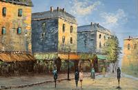 Fine Large Original Vintage Parisian Street Cityscape Impressionist Oil Painting (2 of 11)