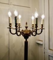 Rococo Gilt Brass Candelabra 6 Branch Floor Lamp, Standard Lamp (8 of 8)