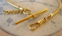 Vintage Pocket Watch Chain 1970s 12ct Gold Plated Snake Link Albert With T Bar (5 of 7)