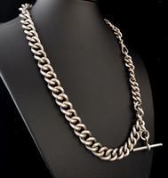 Antique Silver Albert Watch Chain, Heavy (6 of 13)