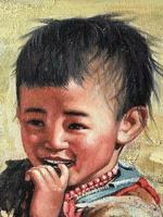 """Chinese Portrait Oil Canvas Painting """"Tribal Young Boy In Gobi Desert"""" Signed Exhibited Yi Ren Gallery (7 of 12)"""