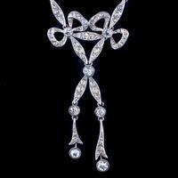 Antique Edwardian Paste Lavaliere Bow Necklace Silver c.1905 (3 of 8)