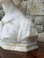 Alabaster Bust of Young Girl Wearing a Bonnet (7 of 25)
