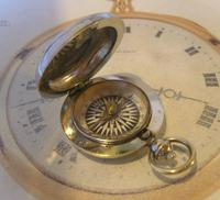 Antique Pocket Watch Chain Compass Fob 1910 Edwardian French Silver Nickel Fob (2 of 8)
