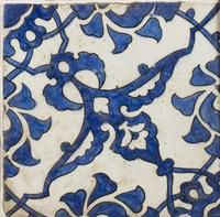 A panel of four square Ottoman Empire 'Dome of the Rock' tiles (5 of 6)