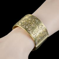 Antique Victorian Engraved Cuff Bangle Silver Gold Gilt c.1880 (3 of 5)