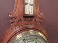 Small  Antique Polished Oak Decorative Banjo Barometer (5 of 8)