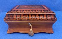 William IV Birch Penwork Jewellery Box (15 of 16)