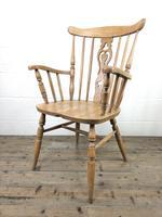 Early 20th Century Antique Beech Farmhouse Armchair (6 of 10)