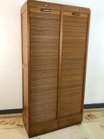 Vintage French Mid Century Double Filing Cabinet Tambour Roller Shutter by G Moreux (2 of 13)