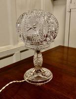 Superb Art Deco Cut Crystal Mushroom Table Lamp