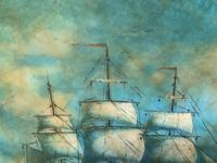 Original Seascape Oil Painting of 18th Century Tall-Masted Ship on the High Seas (8 of 12)