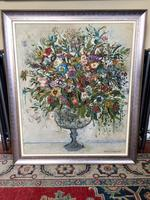 Original Mid Century Artwork by Frank Collins 1960, Signed Oil Painting  of Flowers