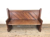 Antique Pitch Pine Church Pew with Enamel Number 37 (M-1639) (2 of 12)