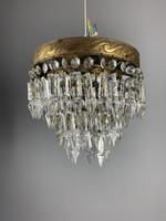 Pair of French 1930s Flush Ceiling Crystal & Brass Ceiling Lights, Rewired (4 of 9)