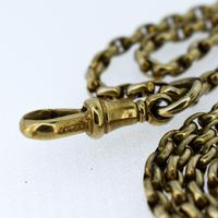 Antique Victorian Long Rolled Gold Guard Muff Chain Necklace (8 of 9)