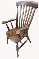 Lovely Pair of Solid Elm Farm Armchairs (3 of 5)