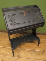 Antique Art Nouveau Black Writing Bureau Desk with Carvings, Lockable, Gothic (16 of 23)