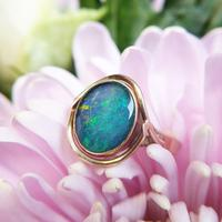 Vintage 9ct Yellow Gold Opal Triplet Ring in the Art Nouveau Style (3 of 6)