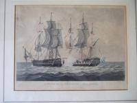 """19th Century Aquatint of """"The Capture of La Proserpine - June 13th 1796"""" Dated 1816, from Jenkins """"Naval Achievements of Great Britain"""" (2 of 6)"""