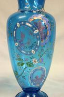 Pair of Antique Pale Blue Glass Decorated Vases (4 of 8)