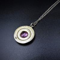 Antique Pink Paste Sterling Silver Round Halo Pendant Necklace (4 of 10)