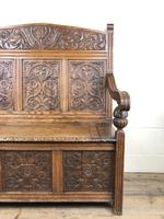 Victorian Carved Oak Settle or Hall Bench (12 of 16)