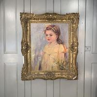 Antique oil painting portrait of young girl in ornate gesso frame signed William Patrick (3 of 8)