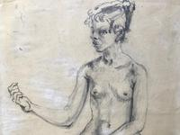 Original pencil drawing 'Seated nude' by Felix Topolski 'attributed' 1907-1989 (4 of 4)
