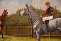 """Oil Painting Pair by Walter Vernon """"Racehorse Scenes"""" (4 of 11)"""