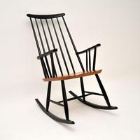 1960's Vintage Ebonised Elm Rocking Chair (2 of 11)