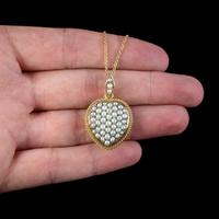 Antique Victorian Natural Pearl Heart Pendant Necklace 18ct Gold Circa 1880 (2 of 7)