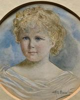 Albany E Howarth ARE Miniature Watercolour Portrait Painting of Little Girl (8 of 11)