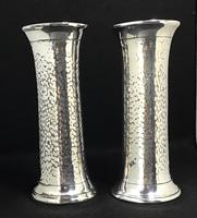 Pair of Arts and Crafts Planished Silver Plated Vases. By Lee and Wigfall. (3 of 7)
