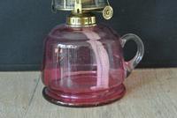 Victorian Cranberry Glass Hand Oil Lamp Original Brass Burner Working Order (4 of 6)