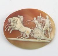 Very Fine Unmounted Carved Shell Angel of Peace Cameo - 4 Horse Chariot 19th Century (4 of 6)