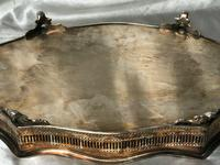 Antique Victorian Serpentine English Silver Plate Acanthus Salver Tray (8 of 13)