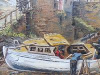 Oil on Canvas Cornish Harbour View Listed Artist Dora Johns 1966 (6 of 10)