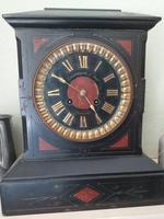 Victorian Black and Red Marble Mantle Clock
