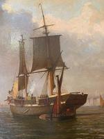 Oil on Canvas Entitled - A Busy Harbour by William R Wells (3 of 3)