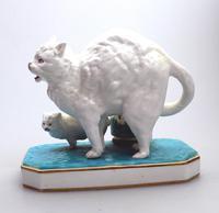 Highly Unusual Novelty Frightened Cat Porcelain Striker / Match Holder 19th Century (6 of 13)