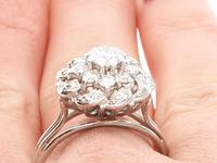1.39ct Diamond & 18ct White Gold Cluster Ring - Vintage c.1950 (9 of 9)