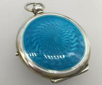 Silver Gilded Guilloche Enamel Pendant Compact Cohen & Charles London c.1920 (2 of 9)