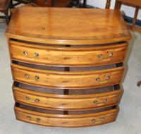 1960's Yew Wood Bow Front Chest of Drawers (3 of 4)