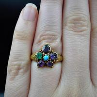 Antique Georgian Multi Gemstone Pansy Cluster 18ct Gold Ring (9 of 9)